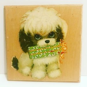 Vintage handmade puppy art decoupaged wooden tile